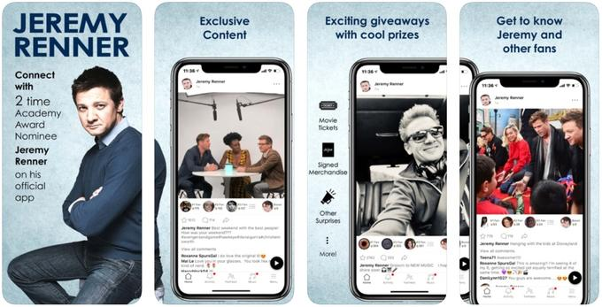 Jeremy Renner app - ios store screenshot of the homepage and main feeds