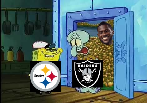 Antonio brown in a safe full of gold - Spongebob meme
