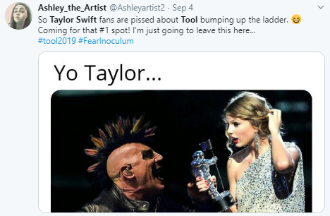 Tweet by @Ashleyartist2 about Tool bumping Taylor Swift for #1 on the charts, with meme referencing Kanye interrupting Taylor but it's Maynard from Tool instead