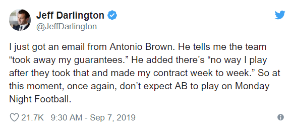 "I just got an email from Antonio Brown. He tells me the team ""took away my guarantees."" He added there's ""no way I play after they took that and made my contract week to week."" So at this moment, once again, don't expect AB to play on Monday Night Football."