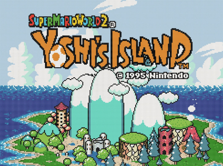 Yoshi's Island Intro Screen - Yoshi's Island has a secret 2-player mode - find out how to access it.