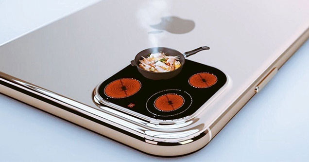 The latest iphone 11 released by apple has 3 cameras in the back and other things that no one is excited about and these memes are based on that predicament COVER IMAGE iPhone 11 Meme roasting and frying up a shrimp cocktail on the hotplate on the back of the new released model -