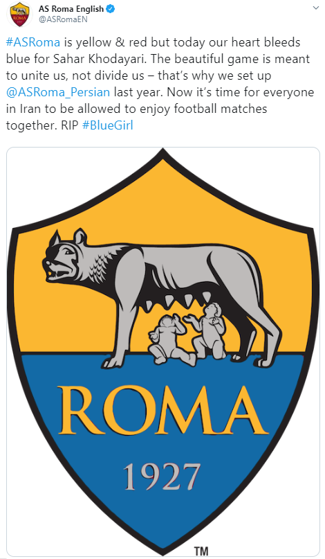#ASRoma is yellow & red but today our heart bleeds blue for Sahar Khodayari. The beautiful game is meant to unite us, not divide us – that's why we set up  @ASRoma_Persian  last year. Now it's time for everyone in Iran to be allowed to enjoy football matches together. RIP #BlueGirl