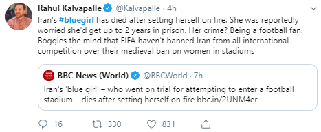 Iran's #bluegirl has died after setting herself on fire. She was reportedly worried she'd get up to 2 years in prison. Her crime? Being a football fan. Boggles the mind that FIFA haven't banned Iran from all international competition over their medieval ban on women in stadiums