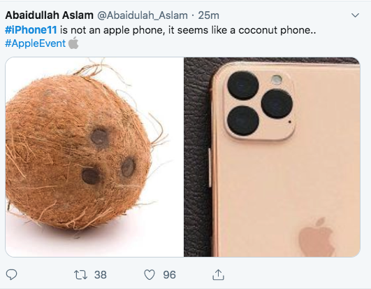 iPhone 11 memes - camera looks like 3 holes in supermarket coconut