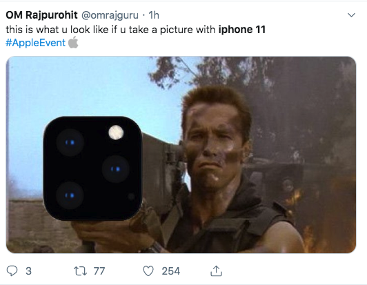 iPhone 11 memes - Dutch from Predator played by Arnold Schwarzenegger with a shoulder fired camera gun like the iphone 11's cameras