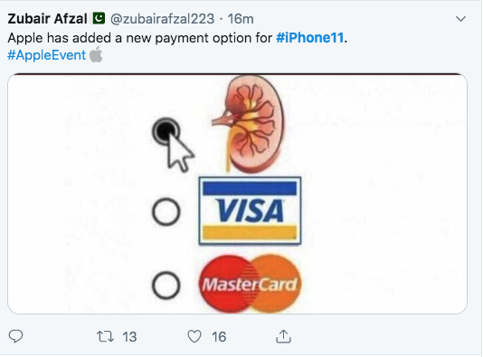 iPhone 11 memes - you can buy it with your kidney, visa or mastercard too