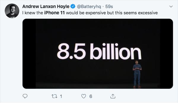iPhone 11 meme Tweet by Andrew Lanxon Hoyle about how the new iphone is really expensive and jokes 8.5 billion dollars