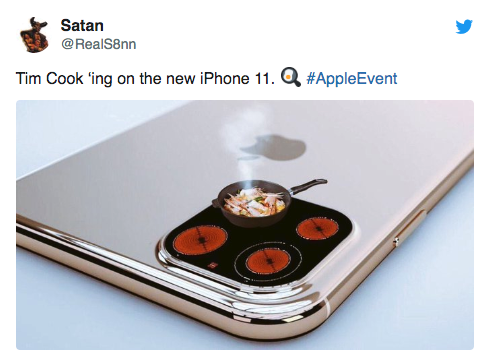 Tim Cook'ing on the new iphone all apple event Satan