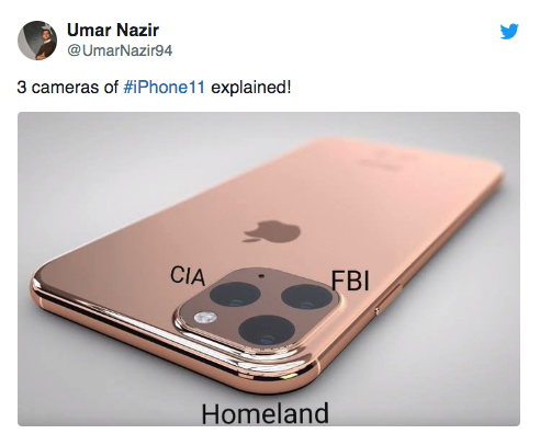 3 Cameras of the iphone 11 explained as CIA FBI and Homeland