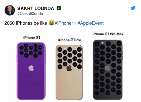 Sakht Lounda Tweets from Pakistan 2050 iphones be like and shows iphone 21 with tons of cameras on the back, with more and more with the more expensive models and colors