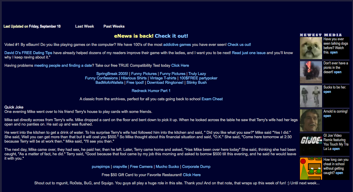 Screenshot of eBaums Wolrd archived by the wayback machine on 9/11/04