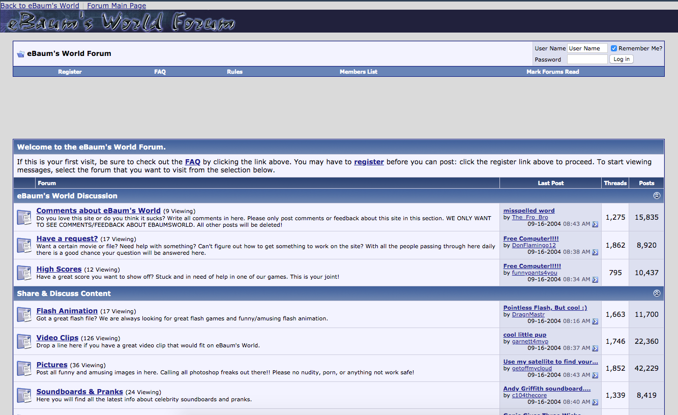 Screenshot of the ebaums world forum from 2004