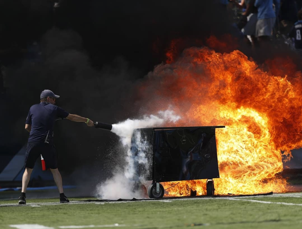 Speaker catches fire at Nissan Stadium before the Titans faced the Colts