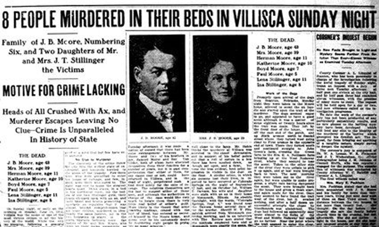Newspaper headline about the Villisca murders