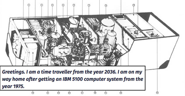 Greetings. I am a time traveller from the year 2036. I am on my way home after getting an IBM 5100 computer system from the year 1975. The mysterious tale of John Titor the Time Traveler from 2036.