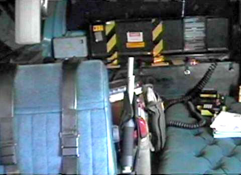 Another view of the time machine in the back of his vehicle.