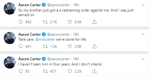 series of tweets by Aaron Carter revealing he'd been served a restraining order by his older brother, Nick