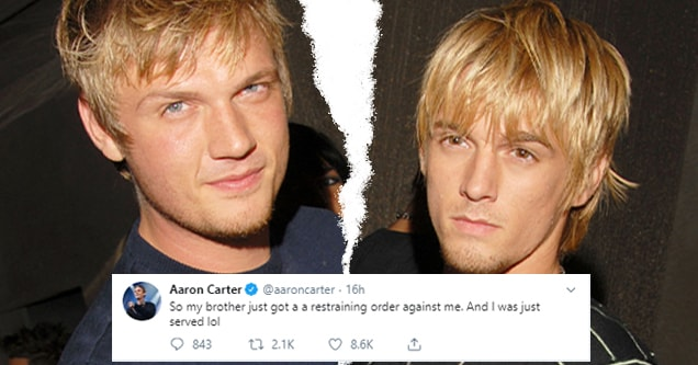 Aaron Carter and Nick Carter, with tweet by Aaron about being served restraining orders from Nick