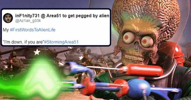 Footage still from Mars Attacks along with a #StormingArea51 tweet