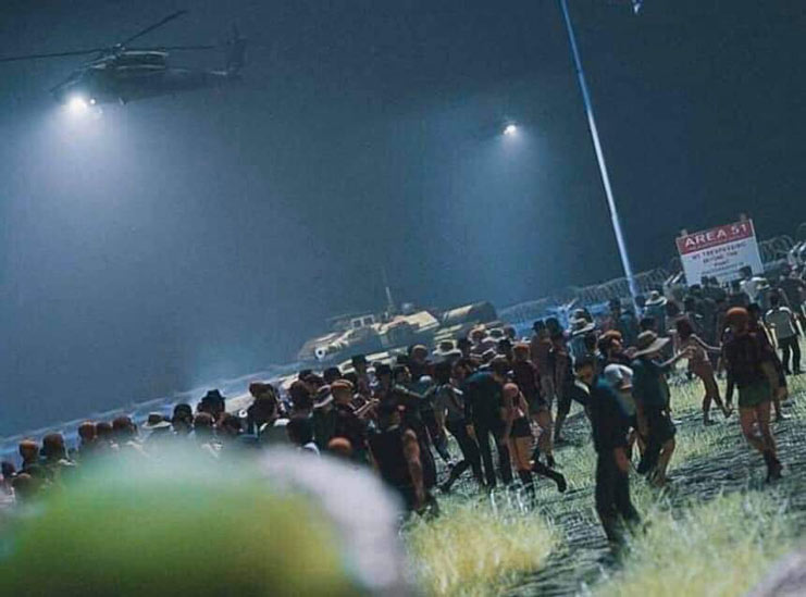 helicopters flying over crowd at area 51