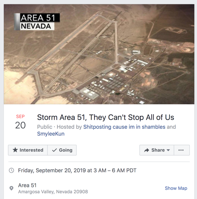 the original facebook post for the raid area 51 event