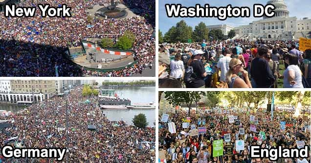 Photos of the #climatestrike from NYC, Washington DC, Germany, and England