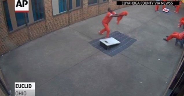 The Cuyahoga County Police Department has released a video that captured one inmate catching drugs and a cellphone that fell from the sky.