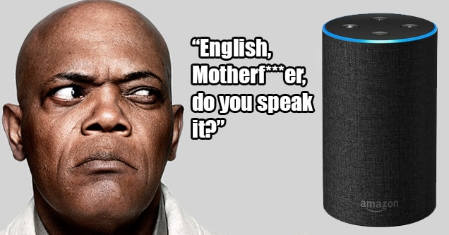 Samuel L. Jackson looks suspiciously at Amazon Alexa device