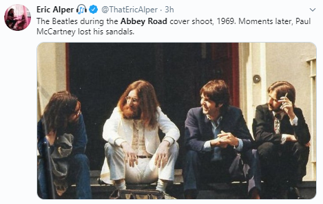 Eric Alper  @ThatEricAlper · 3h The Beatles during the Abbey Road cover shoot, 1969. Moments later, Paul McCartney lost his sandals.