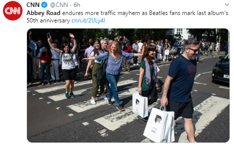 CNN @CNN · 6h Abbey Road endures more traffic mayhem as Beatles fans mark last album's 50th anniversary https://cnn.it/2lJLy4l