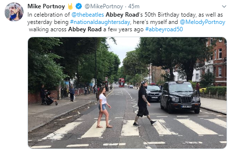 Mike Portnoy  @MikePortnoy · 48m In celebration of  @thebeatles  Abbey Road's 50th Birthday today, as well as yesterday being #nationaldaughtersday, here's myself and  @MelodyPortnoy  walking across Abbey Road a few years ago #abbeyroad50