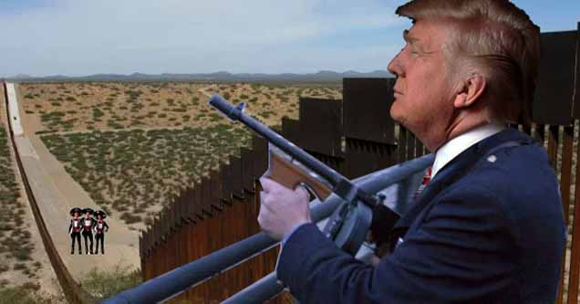 Trump getting ready to shoot some migrants (photoshopped)