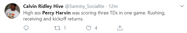 Calvin Ridley Hive @Sammy_Socialite · 13m High ass Percy Harvin was scoring three TDs in one game. Rushing, receiving and kickoff returns.