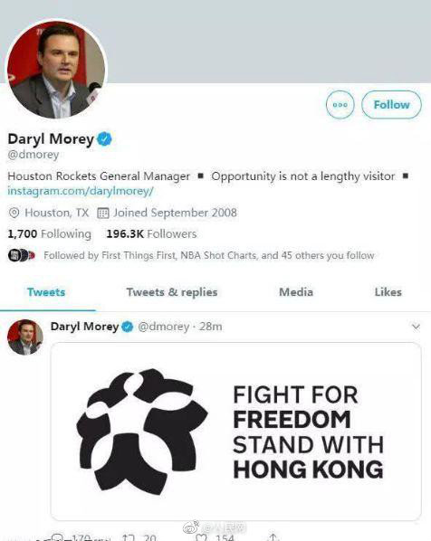 Daryl Morey tweet about