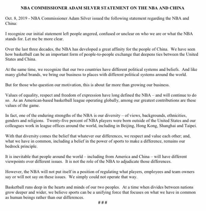 Statement on China by NBA commissioner Adam Silver