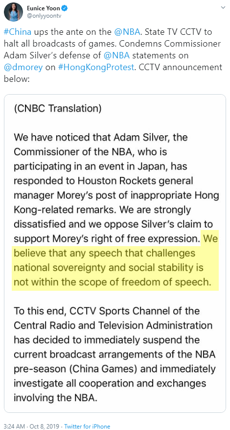 Eunice Yoon @onlyyoontv #China ups the ante on the  @NBA . State TV CCTV to halt all broadcasts of games. Condemns Commissioner Adam Silver's defense of  @NBA  statements on  @dmorey  on #HongKongProtest. CCTV announcement below: