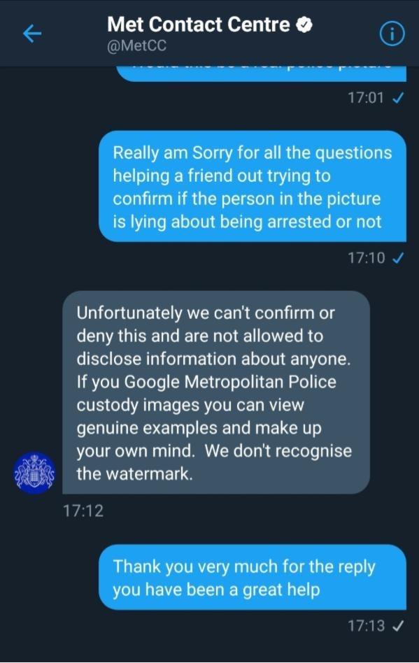 Met Contact Center text conversation on Twitter.