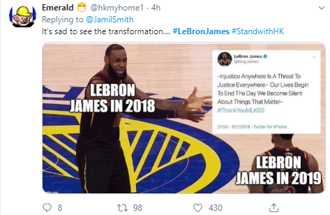 Emerald  @hkmyhome1 · 4h Replying to  @JamilSmith It's sad to see the transformation.... #LeBronJames #StandwithHK