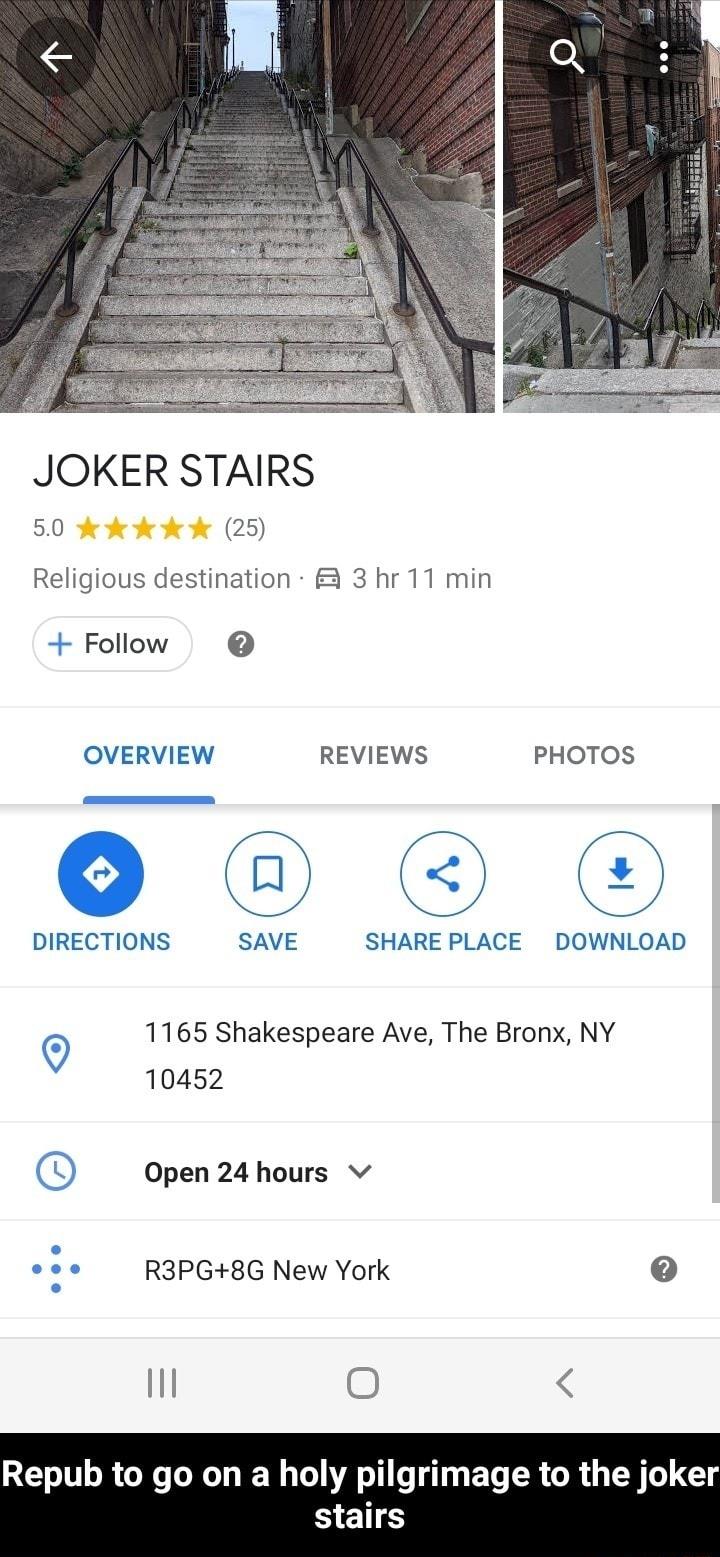 The Joker Stairs Google Maps location.
