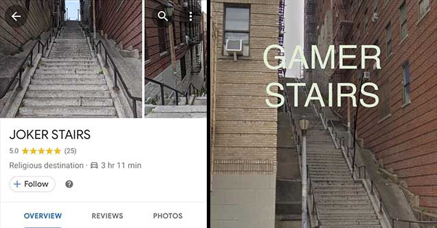 The location of the 'Joker Stairs' and a meme about the stairs.