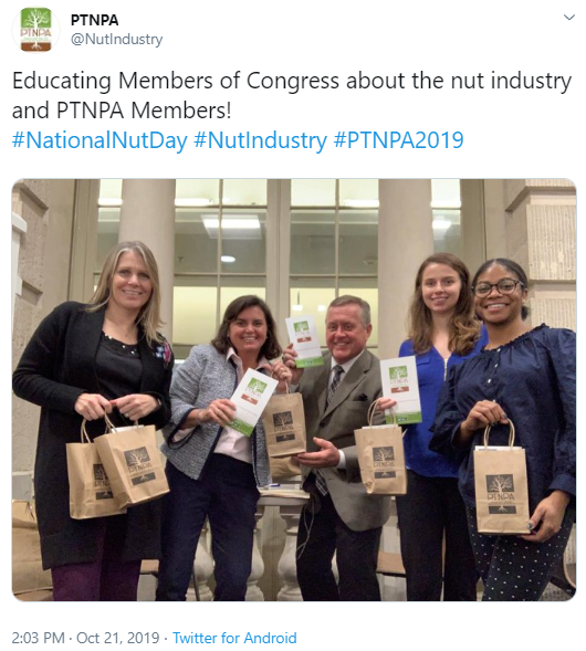 PTNPA @NutIndustry Educating Members of Congress about the nut industry and PTNPA Members! #NationalNutDay #NutIndustry #PTNPA2019