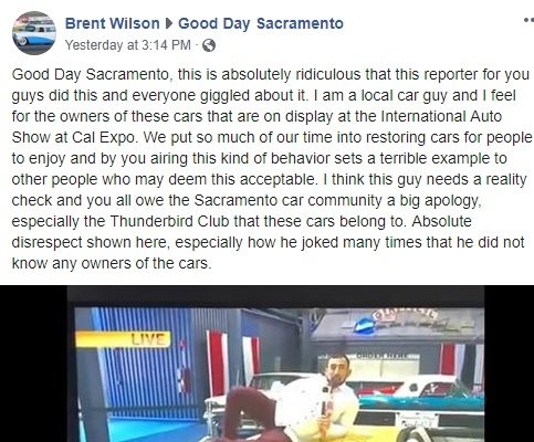 Facebook post calling out bad reporter for damaging classic cars