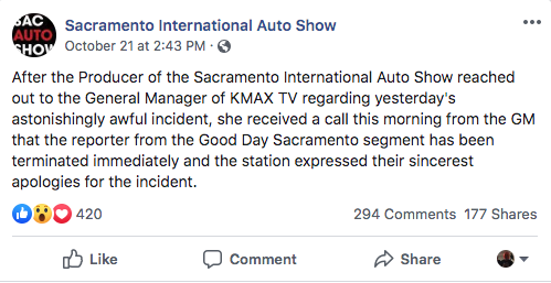 Sacramento International Auto Show facebook post about dickhead reporter being fired for jumping on cars