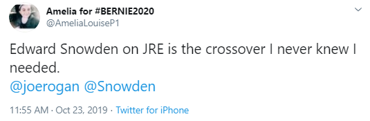 Amelia for #BERNIE2020 @AmeliaLouiseP1 Edward Snowden on JRE is the crossover I never knew I needed.  @joerogan   @Snowden