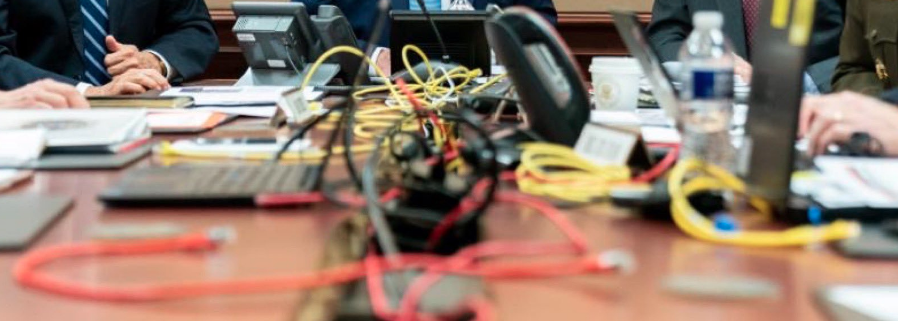 Trump situation room photo staged with cords all over the place
