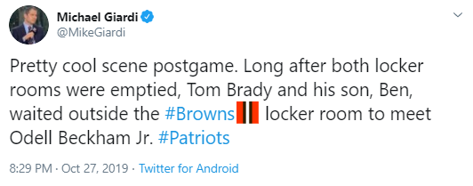 Michael Giardi @MikeGiardi Pretty cool scene postgame. Long after both locker rooms were emptied, Tom Brady and his son, Ben, waited outside the #Browns locker room to meet Odell Beckham Jr. #Patriots