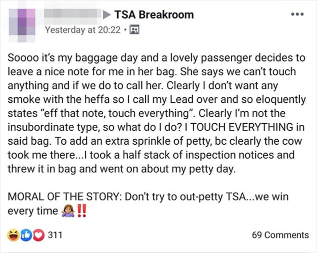 Secret Facebook group for TSA Employees called,