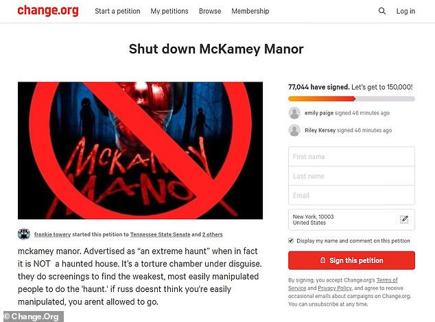 Petitio to shut down Tennessee Haunted House McKamey Manor