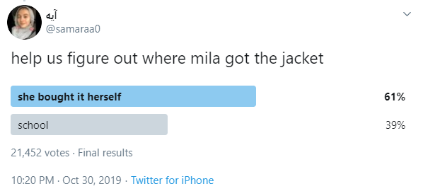 @samaraa0 help us figure out where mila got the jacket she bought it herself  61% school  39% 21,452 votes · Final results 10:20 PM · Oct 30, 2019·Twitter for iPhone
